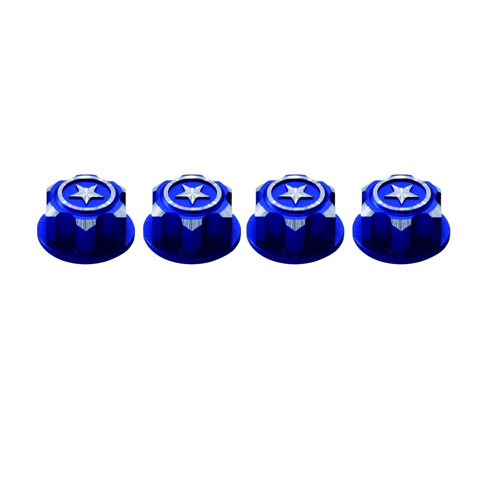 RCparts Traxxas 17mm Covered Wheel Nut Blue (4Pcs)