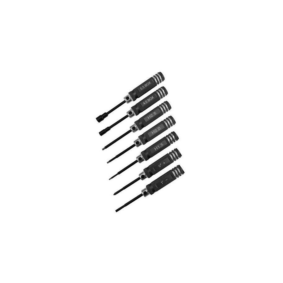 RCparts Tools Set Hex 1.5/2.0/2.5mm/ Phillips 0 + / Flat 1 - / Socket 4.0/5.5mm
